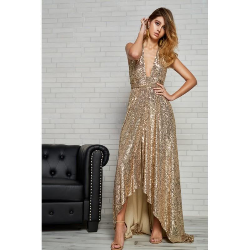 d3677f2f703 Vestido MATILDE CANO asimétrico lentejuelas dorado - Tienda de Ropa Online  - Boutique Valentina