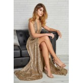 Vestido MATILDE CANO asimétrico lentejuelas dorado