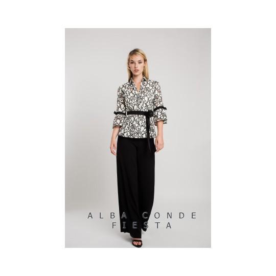 Blusa ALBA CONDE bordado bicolor